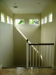 Stairway to bedroom area and den