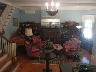 Formal parlor, harpsicord and 7' Steinway Grand