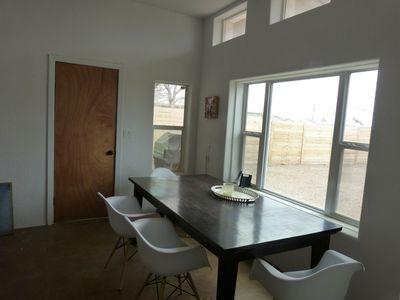 Dining area. Back door goes into yard and carport.