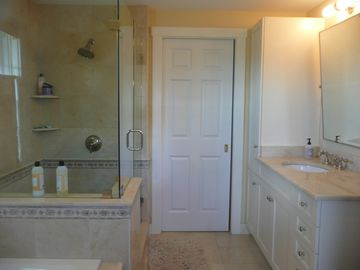 Master bath w/large walk in shower, soaking tub & french door to outdoor shower