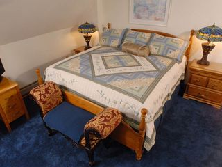 Acadia National Park cottage photo - The master bedroom has a small balcony & is large enough for additional bedding