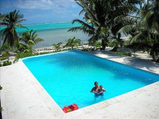 Ambergris Caye house photo - Lounging in 40ft Pool with Marble Decks
