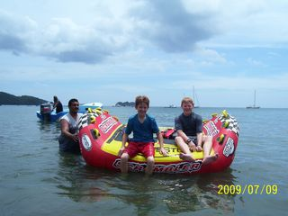 Playa Hermosa house photo - Our boys enjoying the beach. Banana boat rides, jet skies and snow cone vendors.