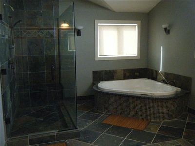 Master Bath Jetted Tub and Large Custom Shower