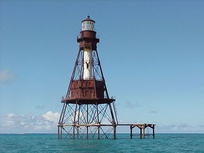 American Shoal Light, barrier reef at Cudjoe