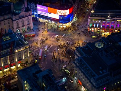 Piccadilly Circus + Regent St after recent makeover -just minutes walk from flat