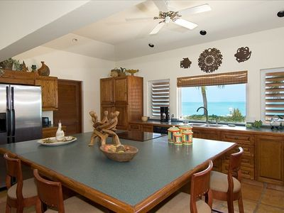 Fully equipped kitchen overlooking the Caribbean Sea at Villa Palermo