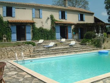 Fanjeaux farmhouse rental - The house and terrace