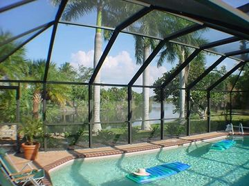Sanibel Island house rental - Pool view over lake
