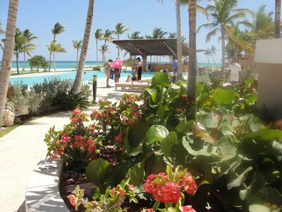 AQUAMARINA POOL AREA - CAP CANA BEACH IN BACKGROUND