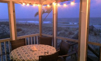 Oceanfront porch at dusk