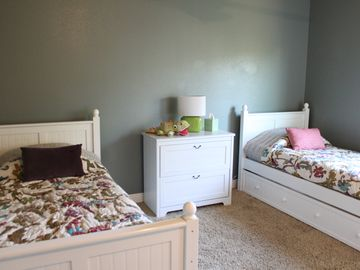 Upstairs twin beds with twin trundles