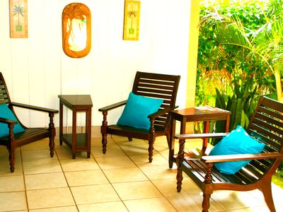 Plantation chairs for reading and relaxing on the lanai