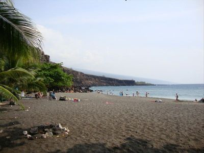 Nearby sandy Hookena Beach with shade, great snorkeling and kayak rentals.