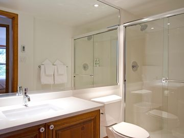 2nd bathroom, shower with double shower head