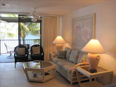 Relax in the living room or on the lanai