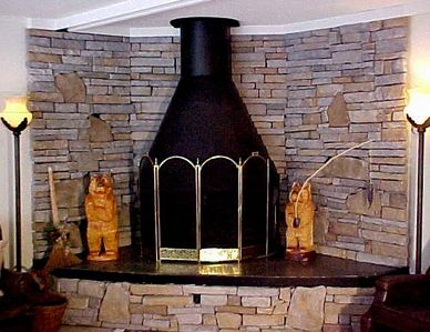 Beautiful flagstone corner fireplace