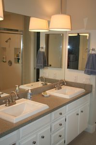 Master bedroom ensuite bathroom with double sinks
