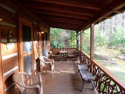On the porch at Winding Falls Cabin