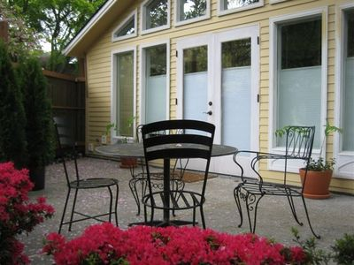 Seattle cottage rental - Private patio & garden with French doors
