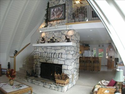 This teepee style home was built around the free standing fireplace