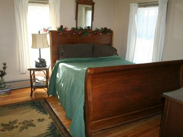Sleigh Bed with View of Lake