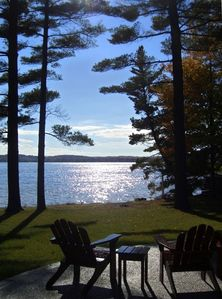 View of Lake from Patio - shallow and warm lake with sandy bottom!!
