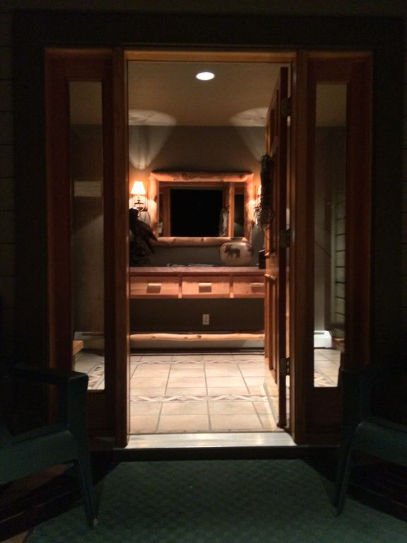 Our cozy and inviting entryway. Come in and sit by our warm fire!