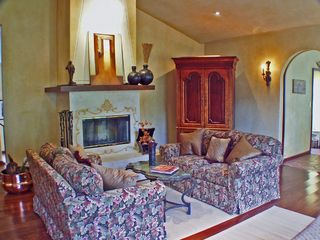 Napa villa photo - Villa Living Room w/ Fireplace, Views, TV Console & High Ceiling