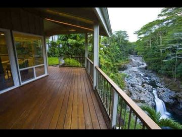 Hilo house rental - Wailuku river and falls view from porch.