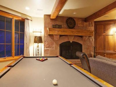 Pool table in downstairs family room