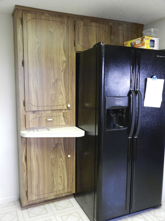 Pantry and refrigerator with ice maker and water through the door