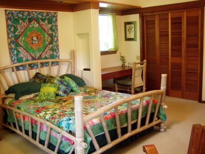 Anini Beach house rental - Back lanai bedroom with queen & broadband desk