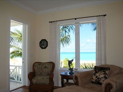 Master bedroom sitting area with private back porch on the beach.