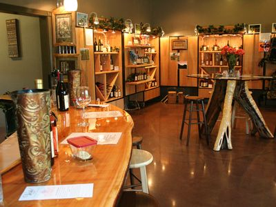 Enjoy Voila` Vineyards tasting room only step away to socialize and great wine!