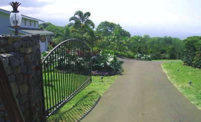 The secure, gated entrance to Aloha Island Farm gives you complete privacy.
