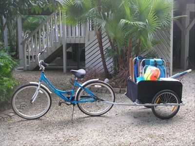 Handy bike cart to carry your beach chairs, cooler, umbrella, beach toys, etc...