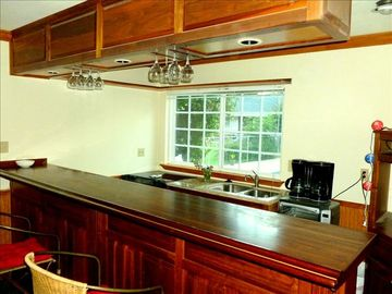Solid Walnut Bar/ for Entertaining. Granite. Stainless Steel