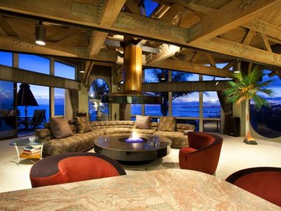 Living room with floating fireplace