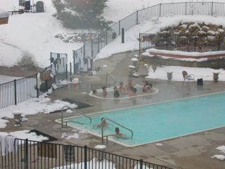 Bellaire / Shanty Creek condo photo - Cedar River pool and hot tub in winter