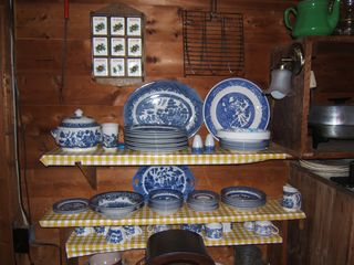 Lake Willoughby cottage photo - Blue Willow and Silver or Paper Plates and Cottage Flatware
