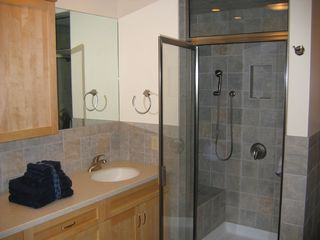 Warren townhome photo - Master Bath w/ steam shower & radiant tile