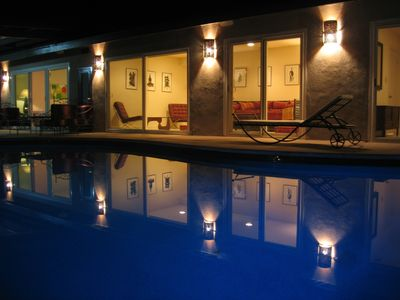 Pool and Home at Night