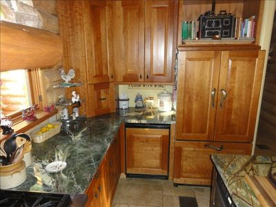 Kitchen, micro, Wolf stove, 2 frigs, dishwashers & sinks. Open to dining room