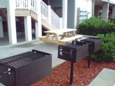 Our grilling area....... 5 grills and a picnic table.