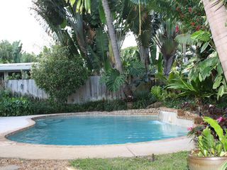 Fort Lauderdale house photo - Pool with Relaxing Waterfall, Professionally Landscaped back yard