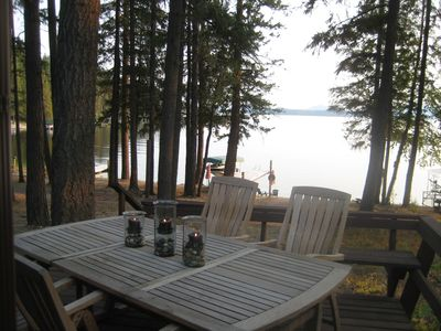 Priest Lake cabin rental - Enjoy dinner on the deck with a gorgeous view of the lake.