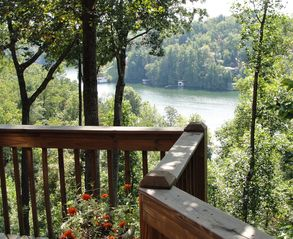 Lake Lure cabin photo - Summer lake view from main wraparound deck