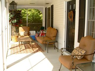Ogunquit house photo - Screened in porch with new furniture photo taken June 2012 Rentals By The Sea