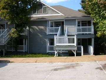 Greers Ferry Lake condo rental - This is the front of our Condo. Back has balcony overlooking wooded scenery.